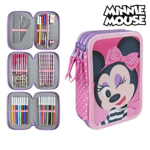 Tredobbelt Penalhus Minnie Mouse 3608 Pink