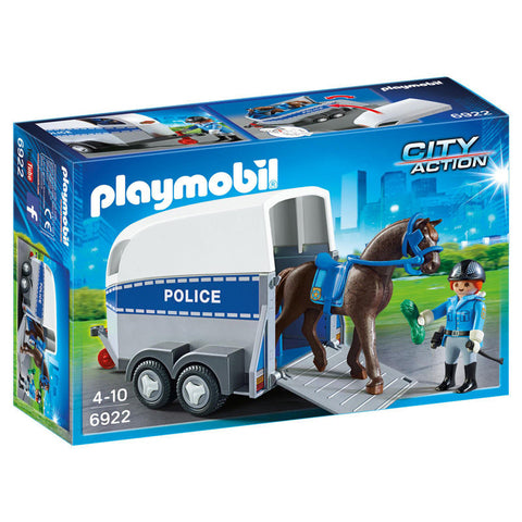Playmobil City Action 6922 Politi med hest & trailer