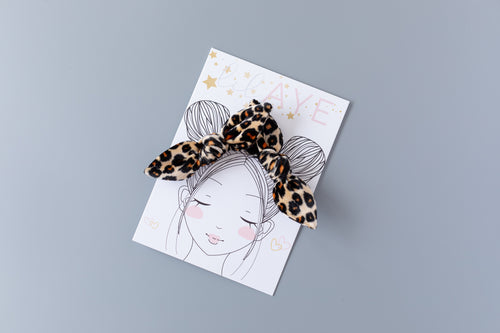 CHEETAH | VELVET PIGTAIL SET - HAND-TIED BOWS