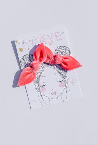 CORAL | VELVET PIGTAIL SET - HAND-TIED BOWS