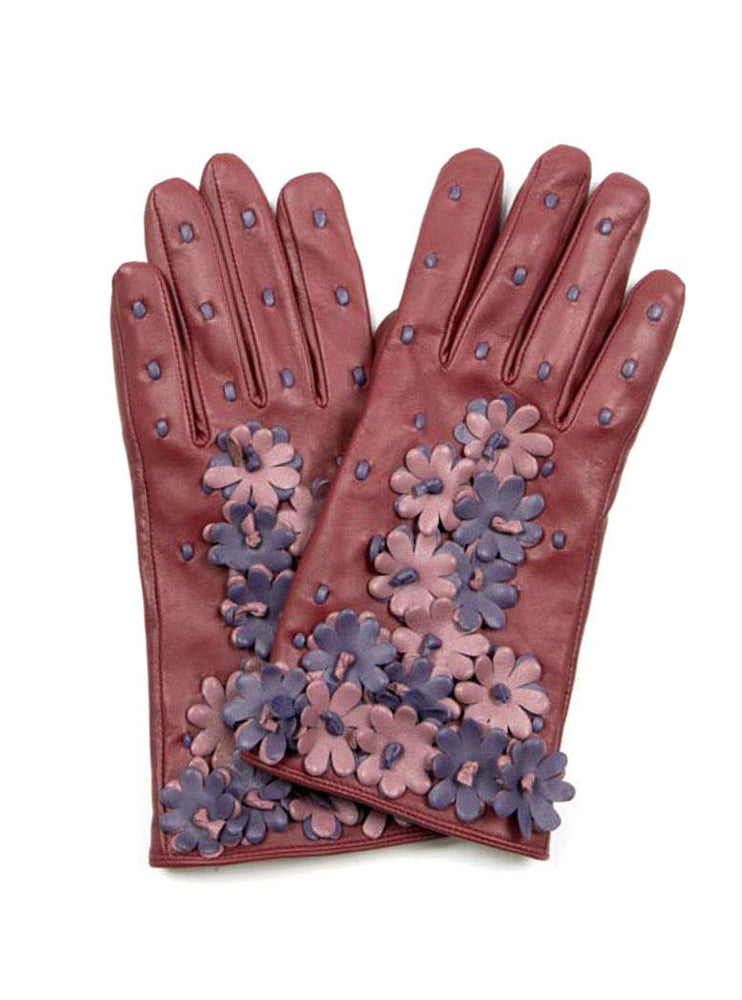 Leather Gloves w/ Flowers - Berry