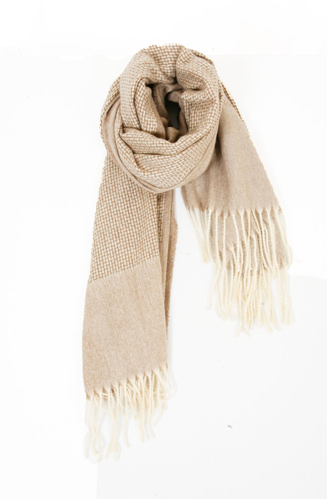 Self Stripe Knitted Scarf - Mushroom