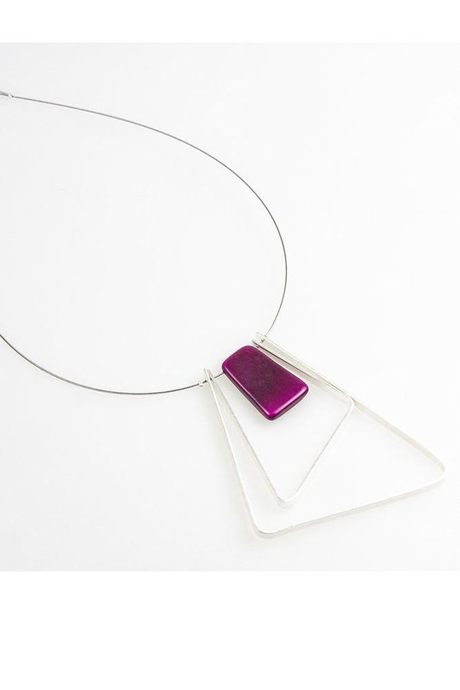 Tangua 2 Triangle Necklace - Purple