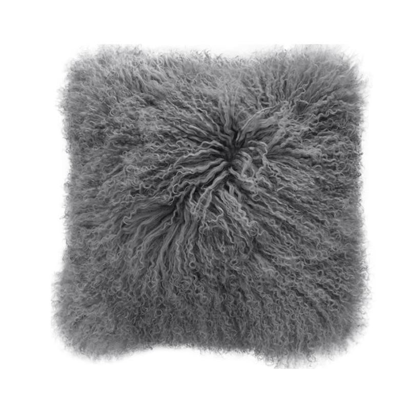 Tibetan Lamb Square Cushion - Grey