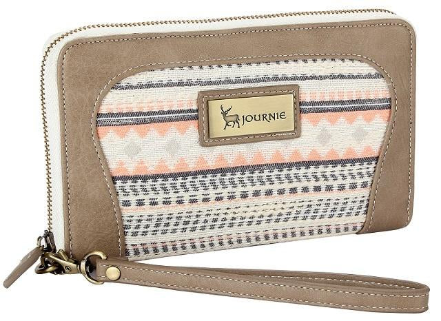 Woven Poetry Wallet - Grey/Pink Print