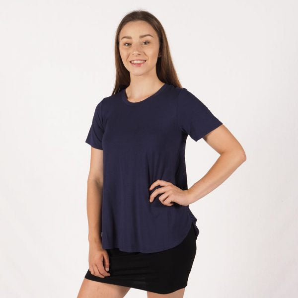 Pleat Modal T-Shirt - Blue