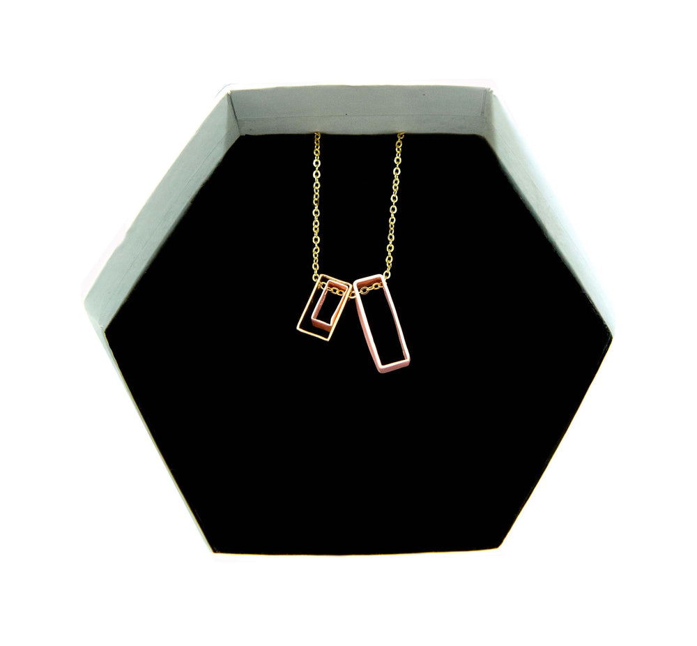 Mixed Rectangle Necklace - Pink
