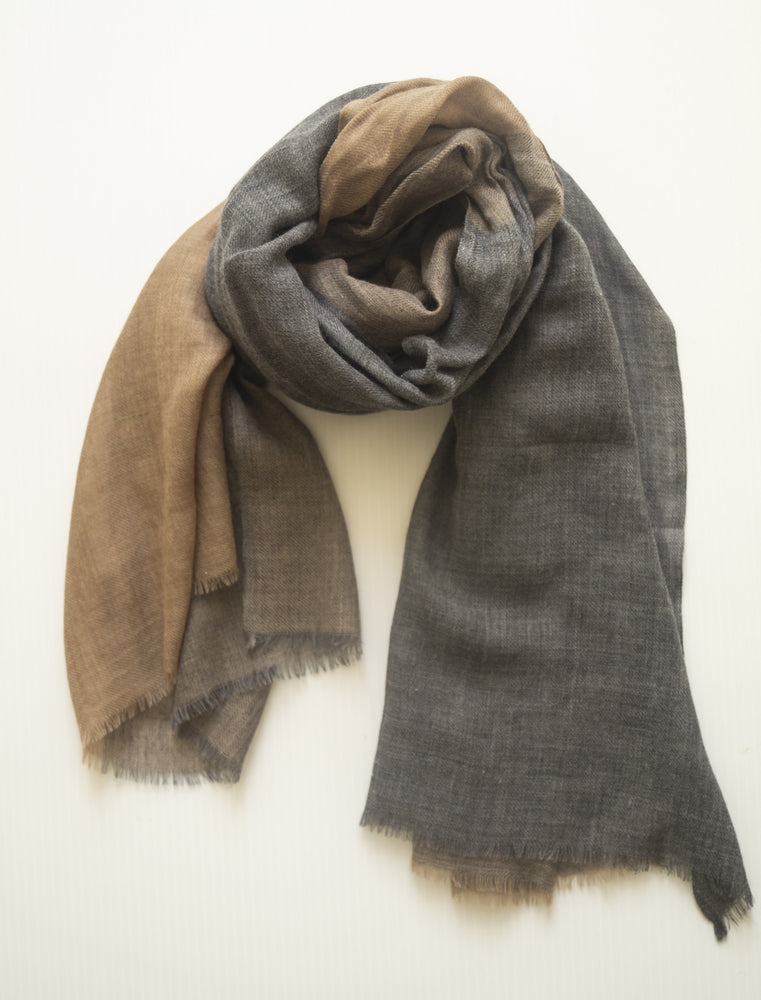 Fine Wool Scarf - Charcoal/Tan