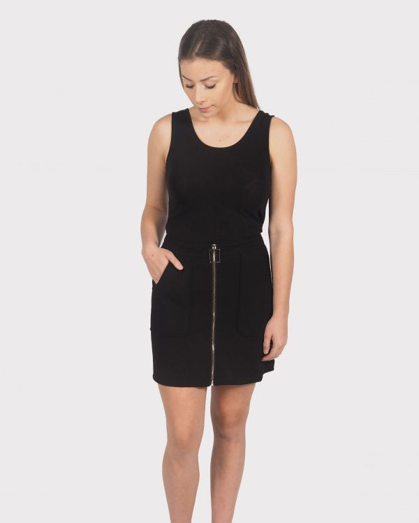 Ponti Zip Skirt - Black