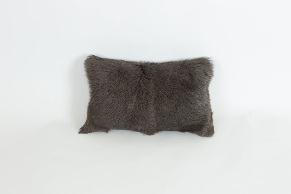 Goat Fur Rectangle Cushion - Charcoal
