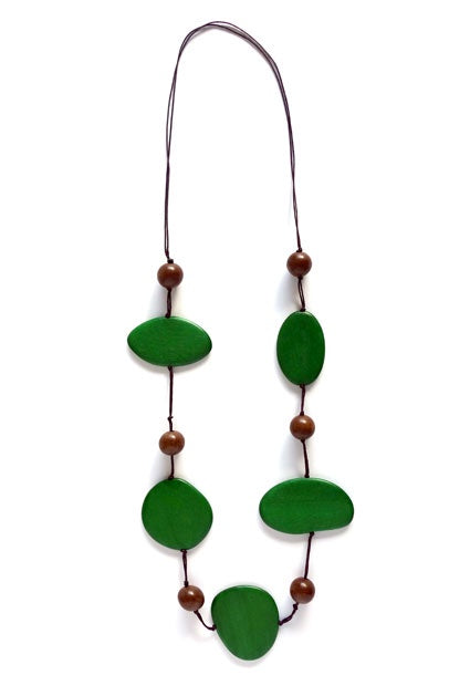 Large Wooden Disc Necklace - Green