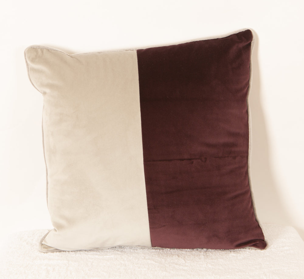 Velvet Cushion - Grey/Red