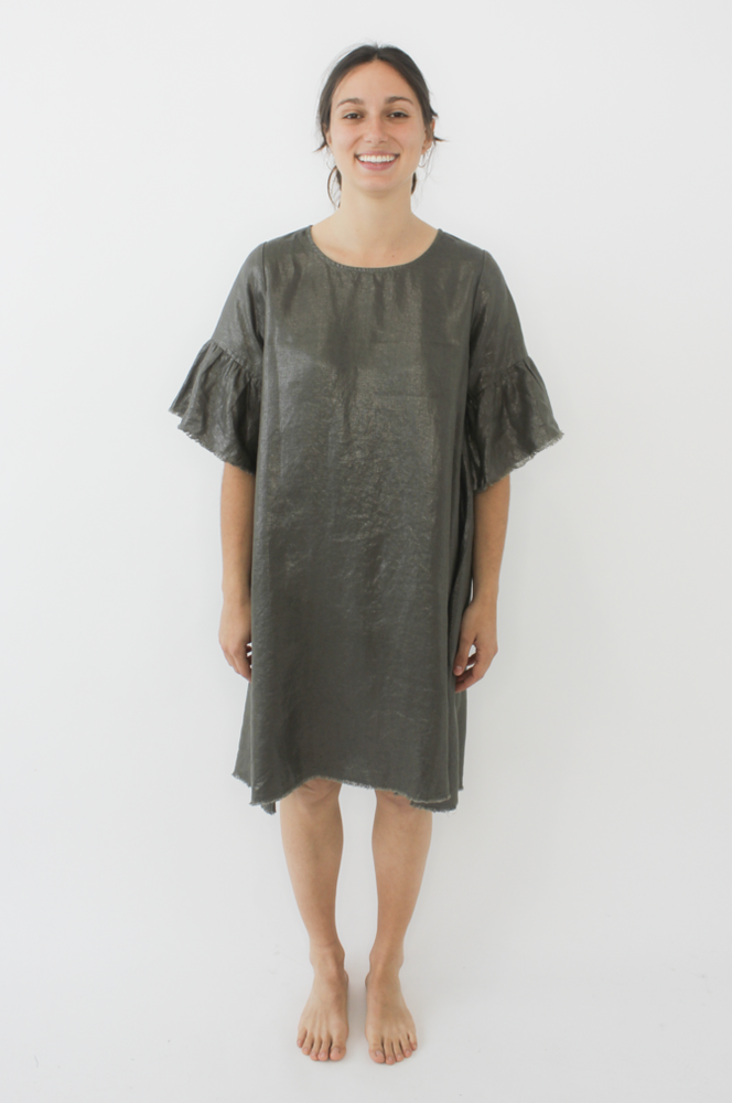 Frayed Edge Dress In Lurex - Khaki