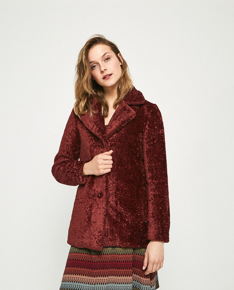 Foe Fur Jacket - Maroon