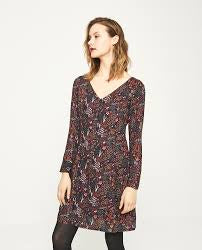 Fox V-Neck Dress - Navy Print