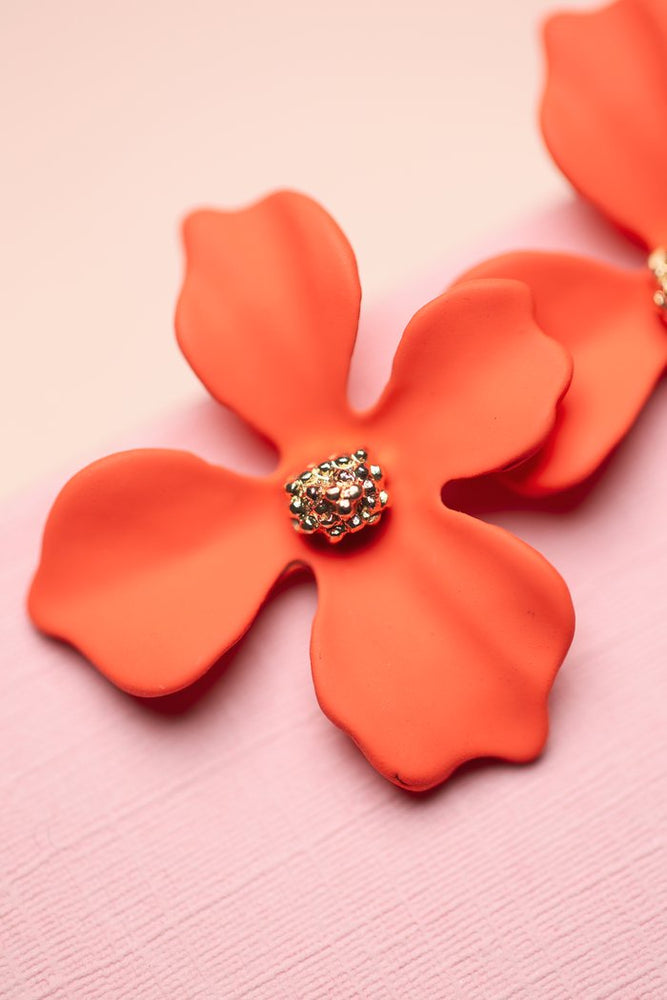 Orchid Flower Stud - Coral