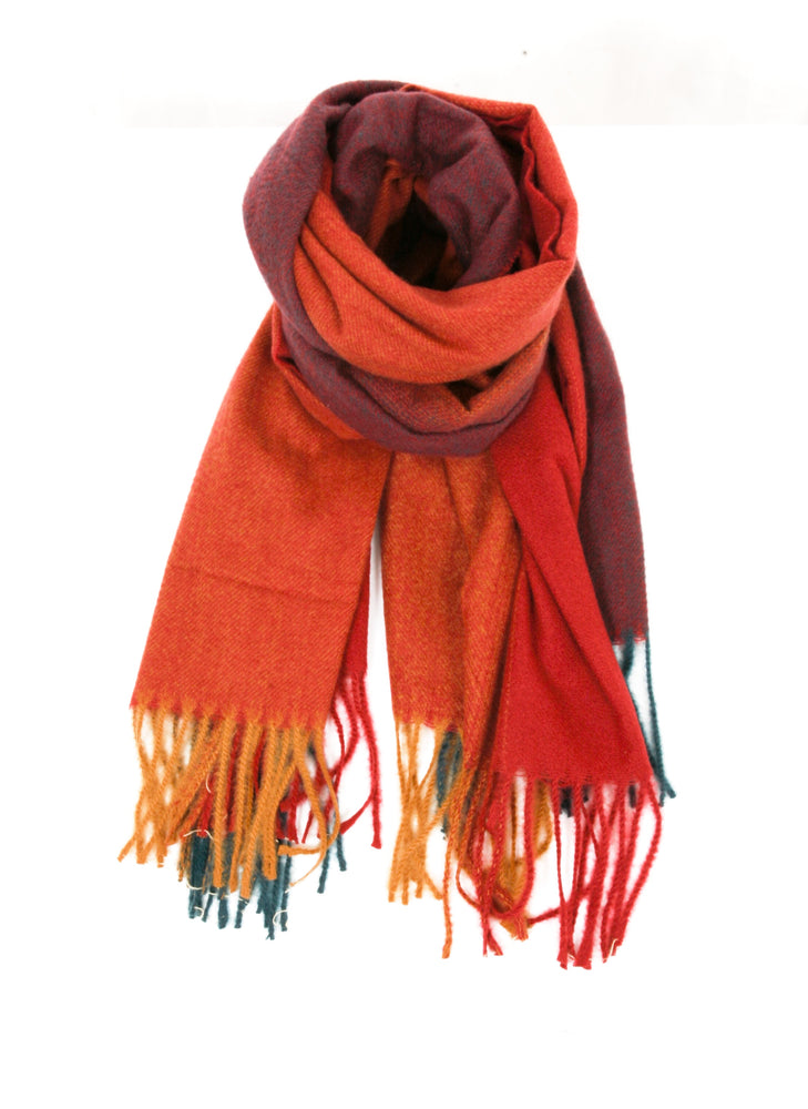 Ombre Knitted Scarf - Red/Mustard