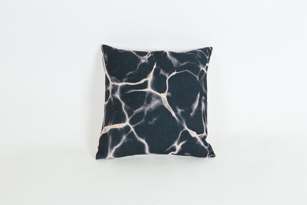 Linen Cushion - Black Marble Print