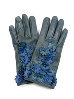 Leather Gloves w/ Flowers - Teal