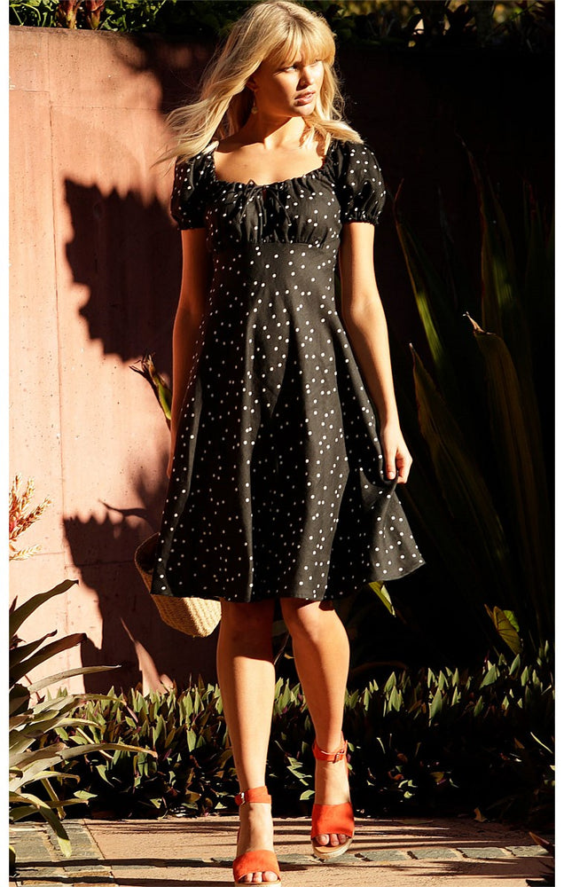 Cap Henri Dress - Black/White Spot