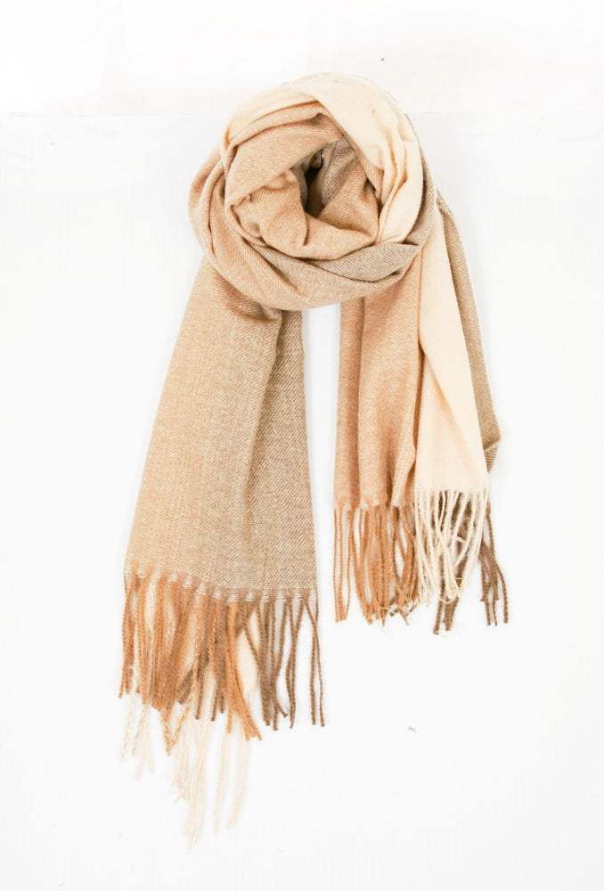 Ombre Knitted Scarf - Natural/Cream