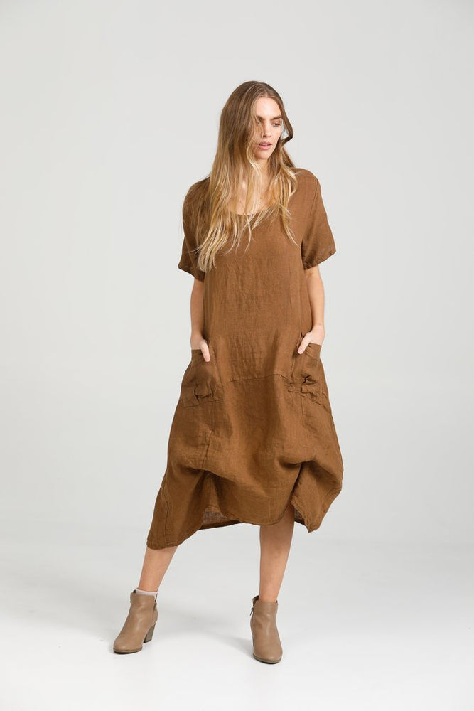 Primavera Linen Dress - Tobacco