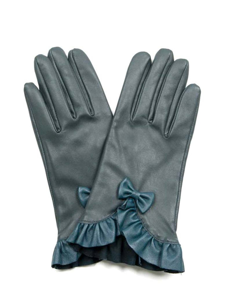 Leather Gloves w/ Bow - Green