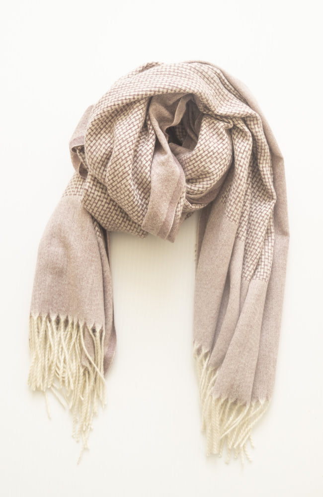 Self Stripe Knitted Scarf - Grape