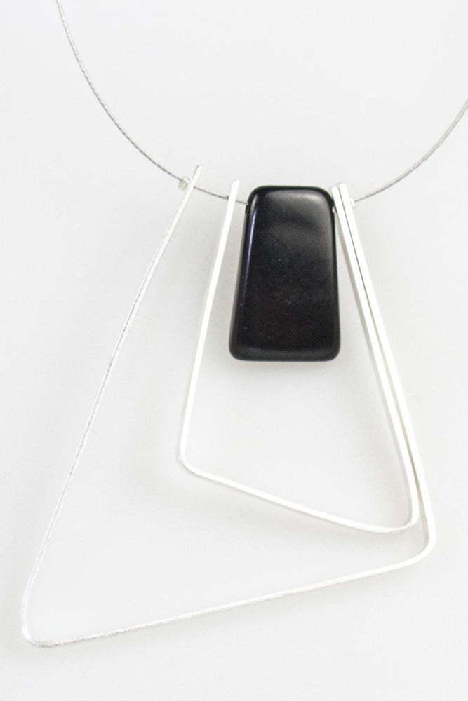 Tangua 2 Triangle Necklace - Black