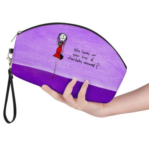 Curved Cosmetic Bag - Chocolate
