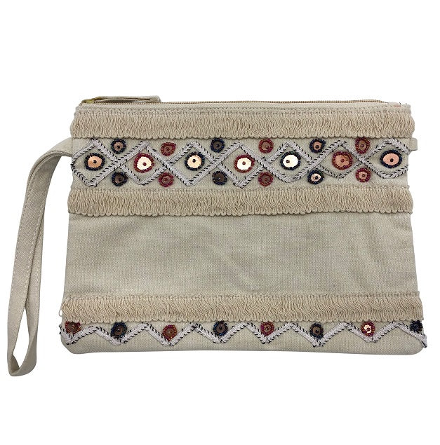 Bahama Clutch - Natural/Red Blue Circles