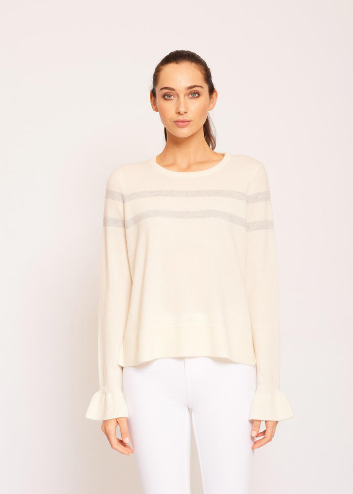 Knockout Knitted Sweater - Cream/Grey Stripe
