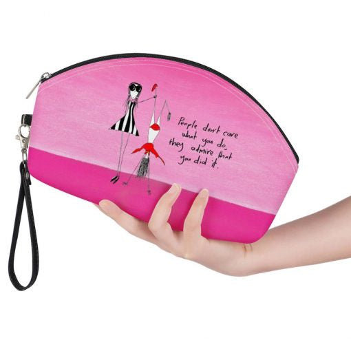 Curved Cosmetic Bag - Admire Pink