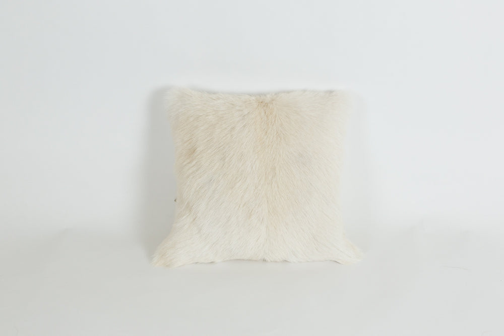 Goat Fur Square Cushion - White