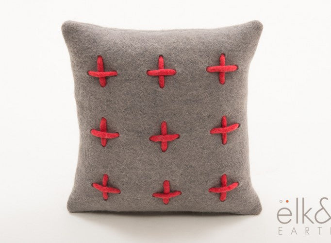 Fire Grid Small Felt Cushion - Grey/Watermelon