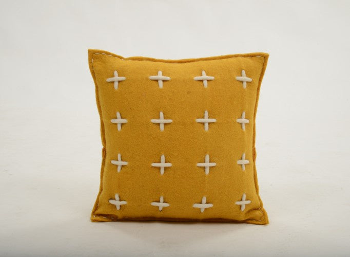 Pluto Grid Small Cushion - Marigold