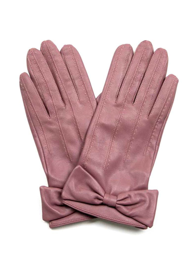 Leather Gloves w/ Bow - Lilac