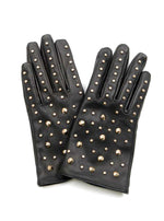 Leather Gloves - Black/Gold Studs