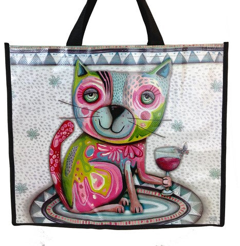 Wine Shopper Bag Cat