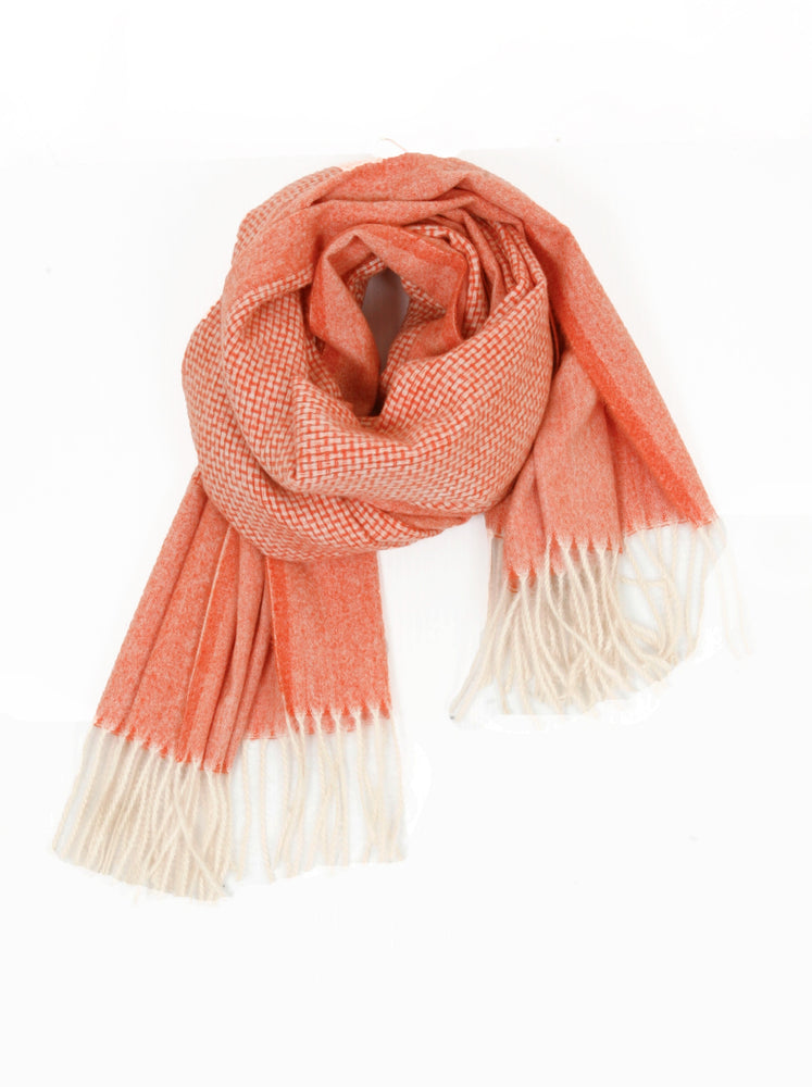 Self Stripe Knitted Scarf - Melon