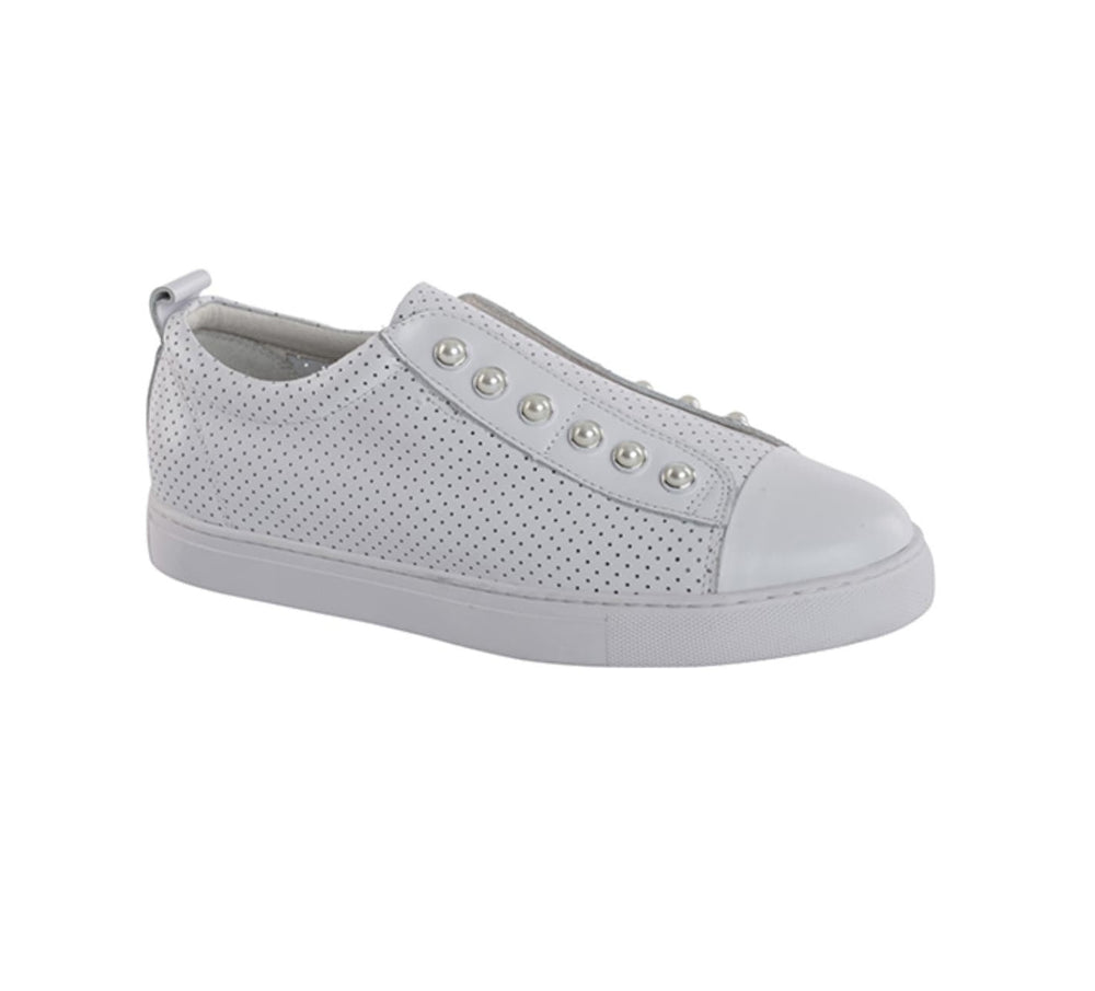 Pearl Perforated Sneakers - White