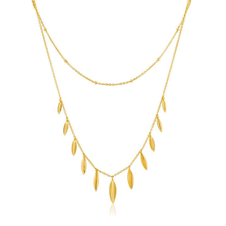 Leaf Double Necklace - Gold