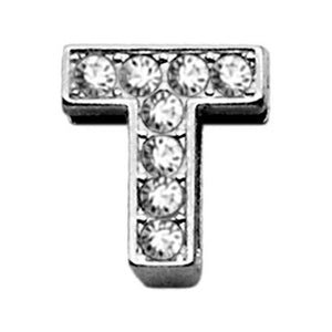 "3-8"" Clear Bling Letter Sliding Charms T"