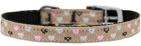 Argyle Hearts Nylon Dog Collar With Classic Buckle 3/8