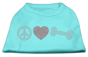 Peace Love And Bone Rhinestone Shirt Aqua