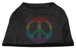 Rhinestone Rainbow Peace Sign Shirts Black
