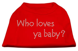 Who Loves Ya Baby? Rhinestone Shirts Red