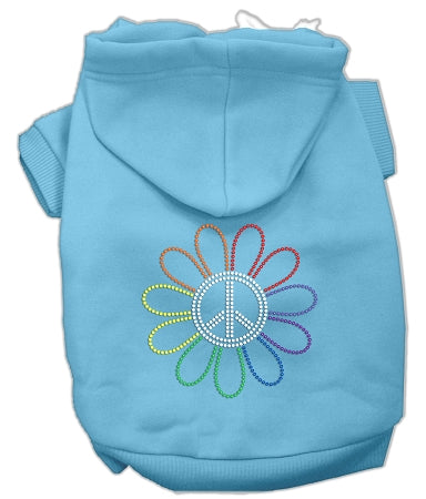 Rhinestone Rainbow Flower Peace Sign Hoodie Baby Blue