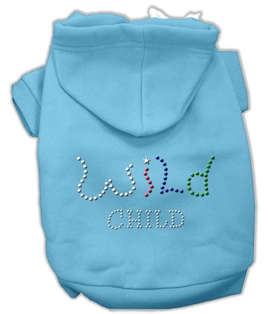 Wild Child Rhinestone Hoodies Baby Blue