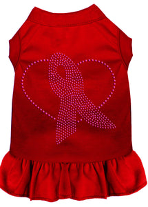 Pink Ribbon Rhinestone Dress Red